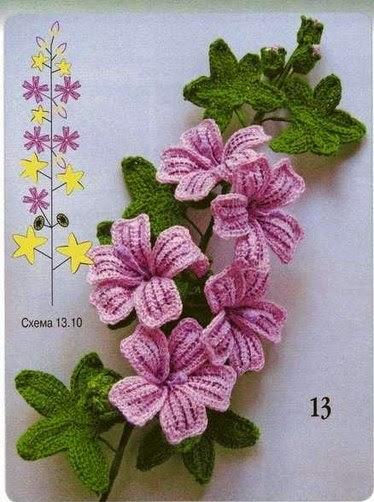 цветы крючком схема - Самое