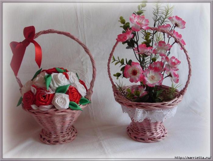 Корзинка для цветов из газет