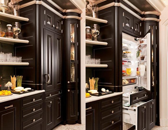 встроенные холодильники на кухне