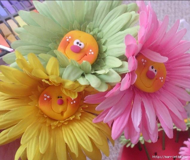 Веселые цветочки из полимерной глины (7) (636x537, 246Kb)