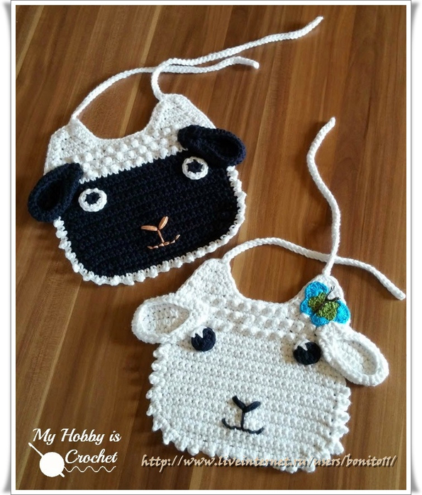 lamb baby bib free crochet pattern myhobbyiscrochet (595x700, 414Kb)