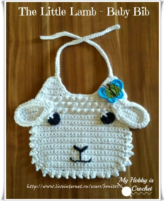 little lamb baby bib free crochet pattern (576x700, 374Kb)