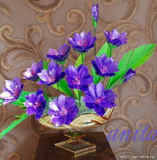 Цветы из упаковочной полипропиленовой ленты (11) (532x542, 266Kb)