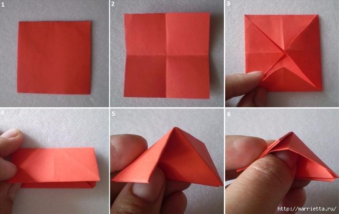 Бумажные цветы в горшочках в технике оригами (7) (694x438, 145Kb)