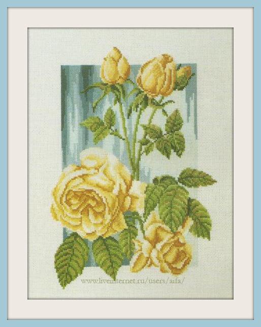 Вышивка крестом желтая роза схемы