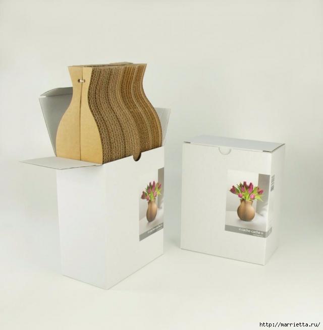 Креативная ваза из картона (2) (640x655, 161Kb)