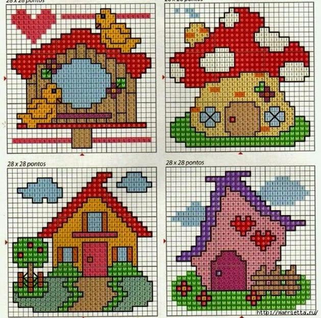 Схема вышивки простого домика