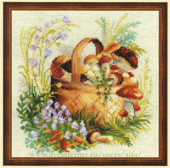 Вышивка грибное лукошко