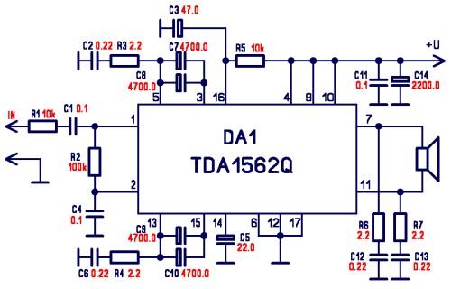 Электрическая принципиальная схема усилителя на микросхеме TDA1562Q приведена на рисунке 1, внешний вид усилителя на...