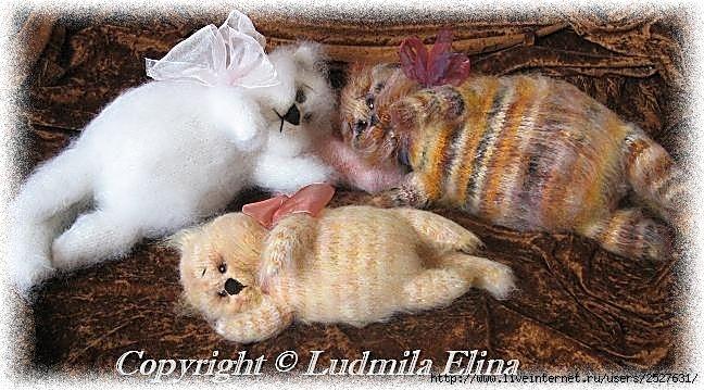 вязаная игрушка, кошки, кот