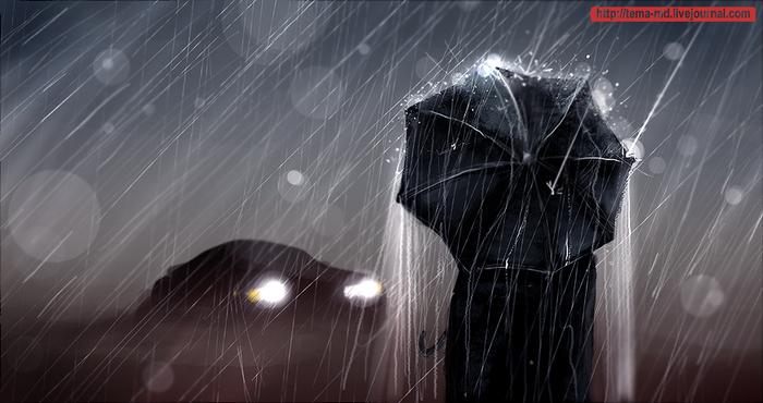 под дождем человек картинка