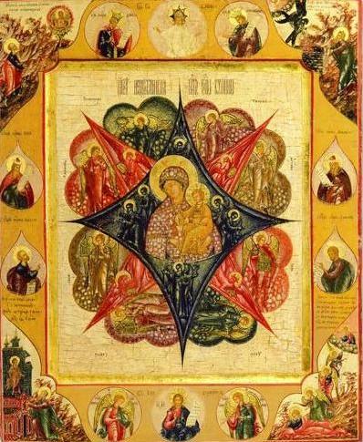 """Икона Божией Матери  """"Неопалимая Купина """".  XVIII в."""