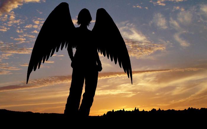 Для того чтобы скачать картинку 77425 - ангел, закат, силуэт нажмите