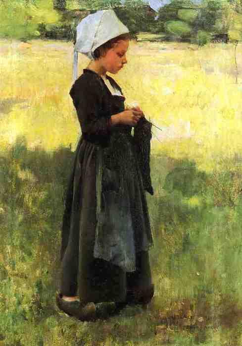 Виллард Лерой Меткалф 1858-1925 ,,Бретонская девушка с чулком,, (489x698, 22Kb)
