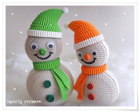 Новогодние поделки из гофрированного картона своими руками снеговик