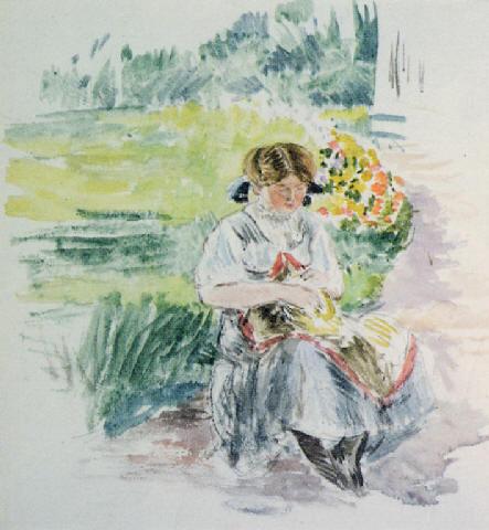 Jeune fille au jardin (443x480, 42Kb)