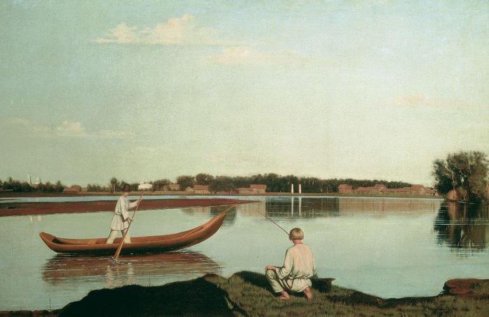 картинка крестьянин в лодке