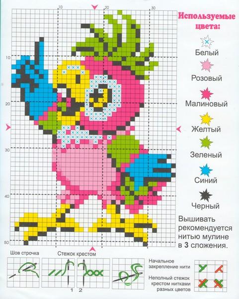 """Схема для вышивки """"Попугай"""
