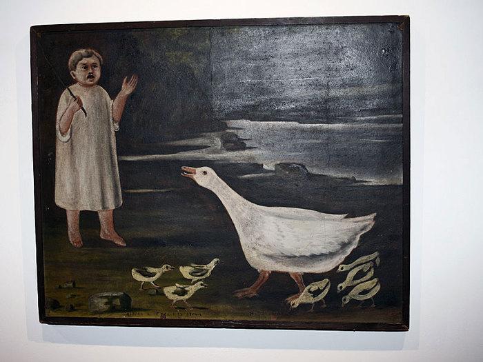 Девочка и гусыня с гусятами, Нико Пиросмани