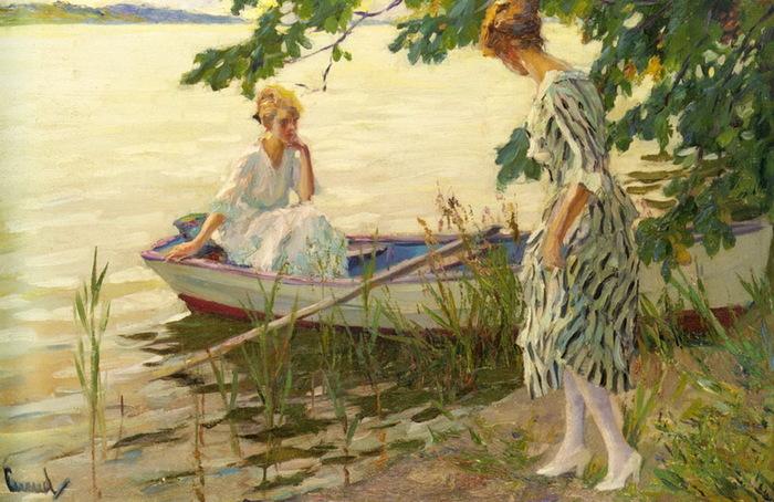дама в лодке в живописи