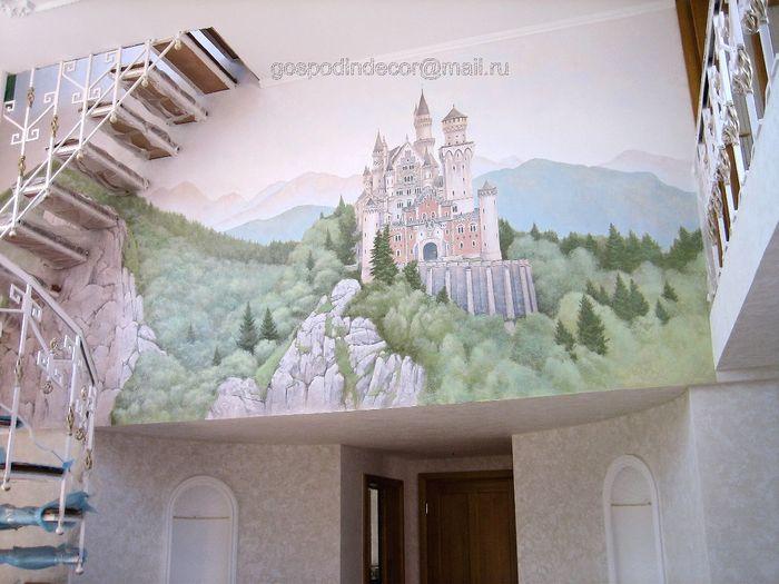 Замок роспись на стене