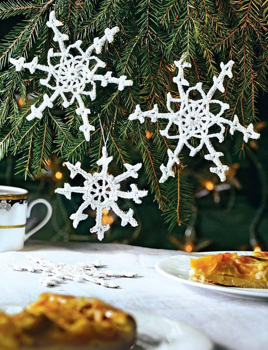 """А я зв """"язали гачком сніжинки і ангела.  Ми їх на ялинку повісили потім."""