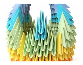 Радужный лебедь из треугольных модулей.  Схема.