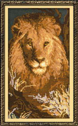Замечательный усложненный набор для вышивания крестиком Лев.  Нитки: шерсть;цветов: 11;размер: 22х38 см;вышивка...