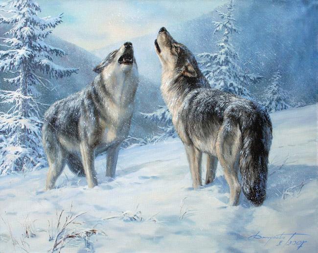 """Оригинал схемы вышивки  """"волки в зимнем лесу """" ."""