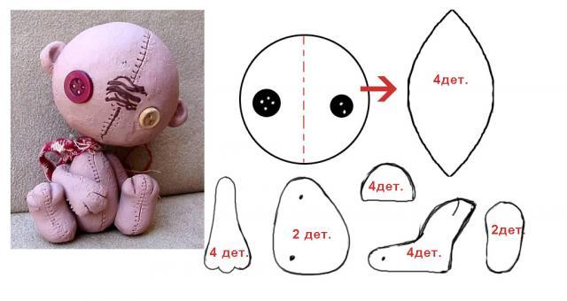 Мягкая игрушка своими руками теперь делаем мордочку мишки. . Отсутствие пр