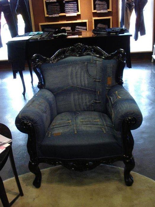 Картинка кресло из джинс Из старых джинсов. кресло из джинс.
