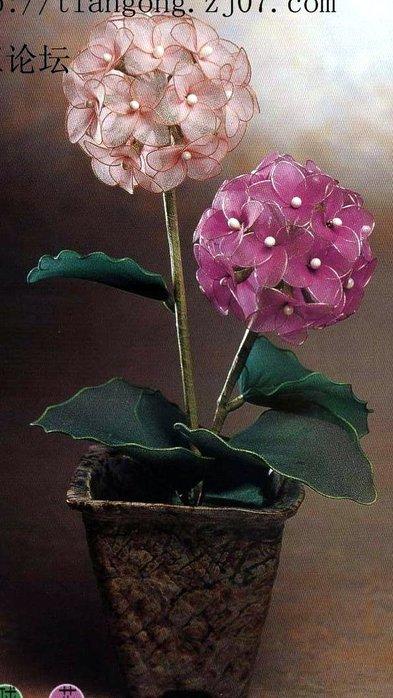 гортензия из капрона. цветок гортензии.