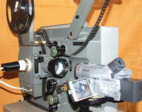 Для оцифровки 16мм кинопленки кинопроектор Радуга-2 дорабатывается под захват из объектива в объектив на пониженной...