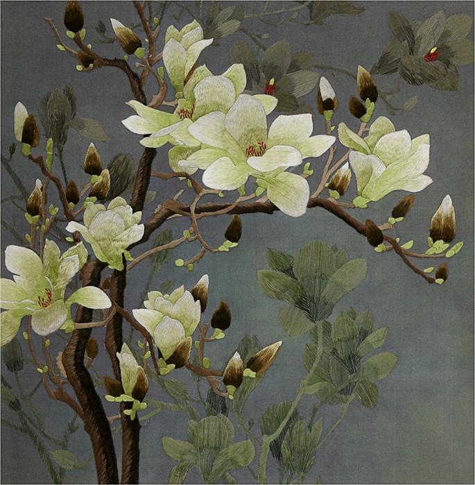 Тонкая,элегантная вышивка китайских мастеров Цветы.  Написано колошенька Оригинальное сообщение Великолепная вышивка...