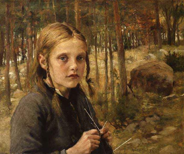 A-Girl-Knitting-Socks - Albert Gustav Aristides Edelfelt - Terra Incognita.  Сайт Рэдрика.