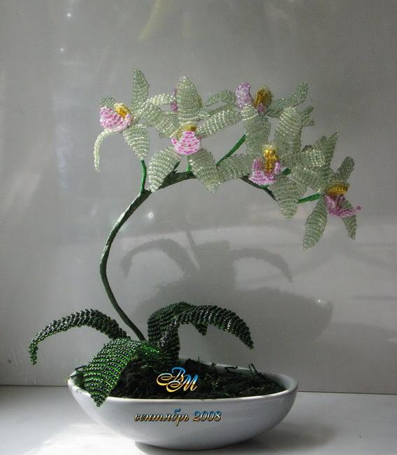 Мастер-класс Бисероплетение Орхидея или если долго мучиться что-нибудь получится Бисер фото 1. 2. Цветок орхидеи...