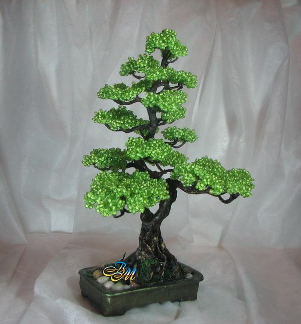 поделки из бисера схема дерево бонсай.