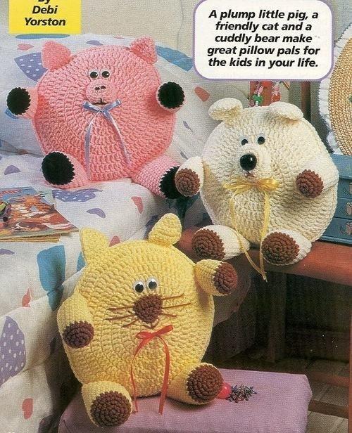Вязанные подушки игрушки крючком схемы и описание
