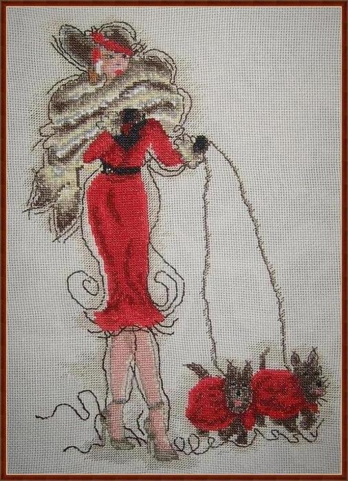 Вышивка крестом дамы в красном
