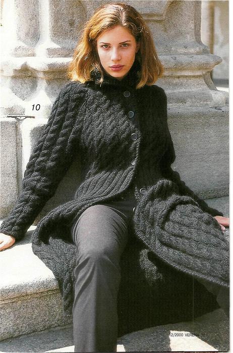 вязаное пальто спицами схемы.