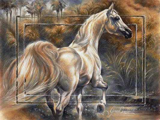 """Предпросмотр схемы вышивки  """"Белая лошадь """"."""