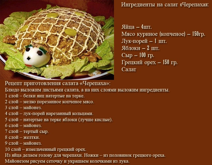 Салат черепаха рецепт с курицей с грецкими орехами видео