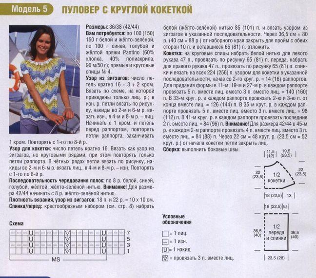 Синий Пуловер С Кокеткой С Доставкой