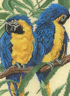 """Схема вышивки  """"попугайчики """" ."""
