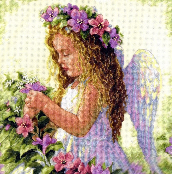 Ангел схема вышивки крестом.
