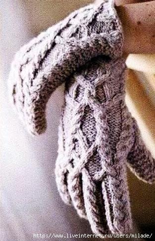 Начало работы узором по схеме Вязать по схеме правой перчатки до 30-го р. 31-й ряд первые 28 п. по...