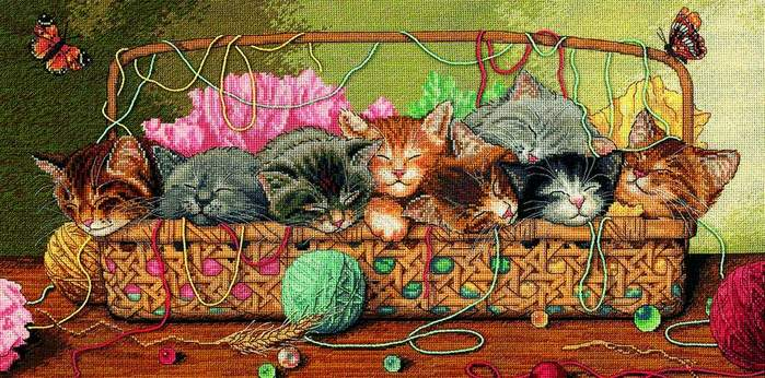 Вышивка крестиком - Котята в корзинке.
