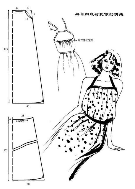 Выкройки летних платьев-сарафанов.  Сканы выкроек сарафанов.  Прочитать целикомВ.