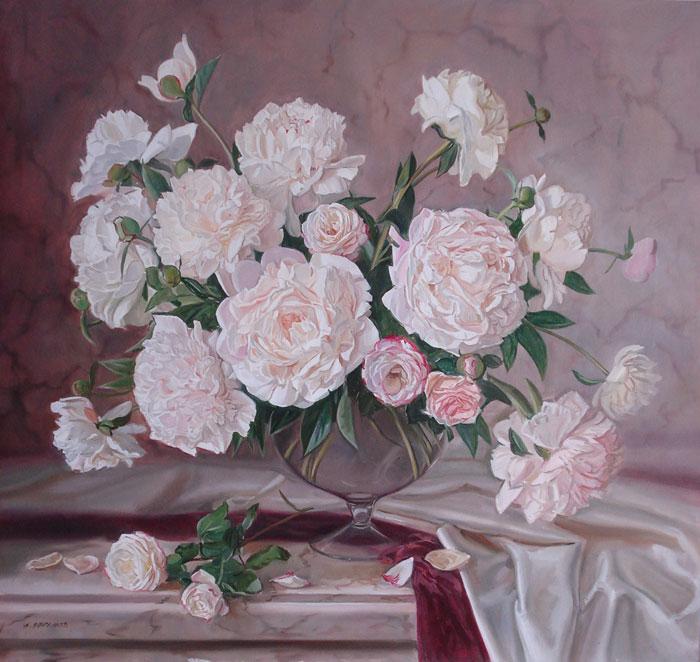 Загрузка изображения.  Ефремов А., натюрморт с цветами Розовые пионы и розы в вазе, 70х75 холст масло 30000 руб.