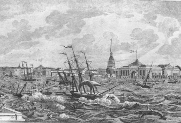 Произошло первое наводнение в истории Петербурга